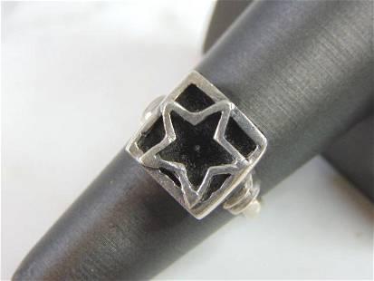 Vintage Estate Sterling Silver Star Marcasite Ring