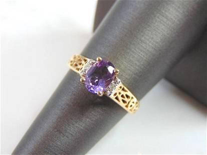 Womens Vintage Estate 10k Gold Amethyst Ring