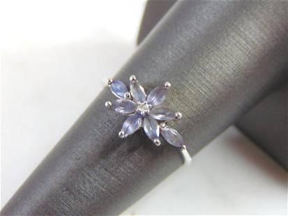 Womens Vintage Estate 10k White Gold Tanzanite Ring