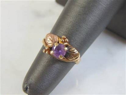 Vintage 10K Yellow Gold Ring With Purple Amethyst Stone