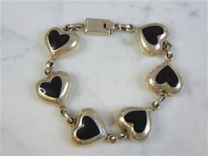 Vintage Sterling Silver Heart Chain Link Bracelet