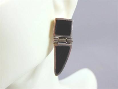Womens Vintage Sterling Silver & Black Onyx Earrings