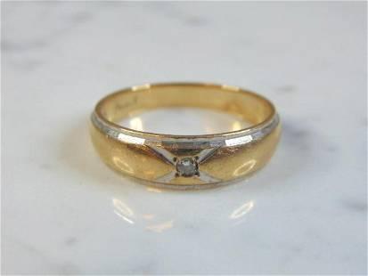 Mens Vintage 14K Yellow & White Gold Diamond Ring