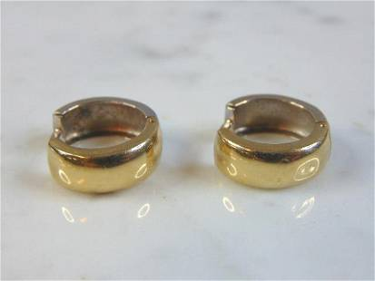 Vintage Estate 14K Yellow & White Gold Hoop Earrings