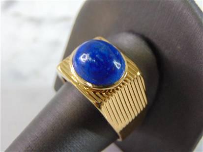 Mens Vintage Estate 18K Yellow Gold Lapis Lazuli Ring