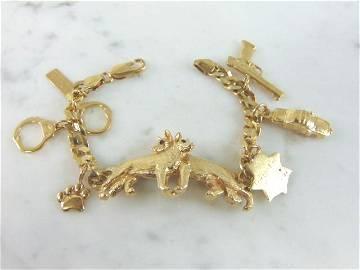 Womens Vintage 14k Gold Police Dog Charm Bracelet