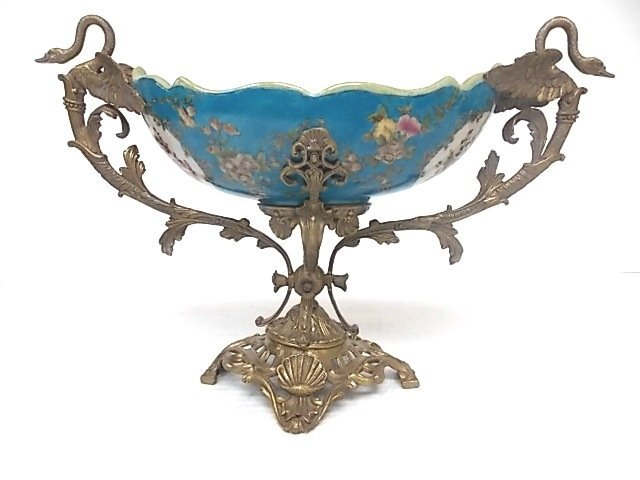 VICTORIAN VENETIAN STYLE PORCELAIN AND BRONZE COMPOTE
