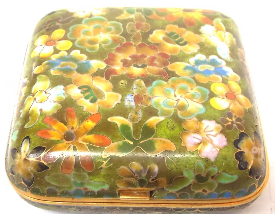 CHINESE ASIAN CLOISONNE COMPACT W/ GOLD
