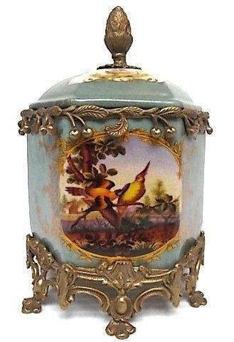 VICTORIAN STYLE FLORAL PORCELAIN TOBACCO JAR