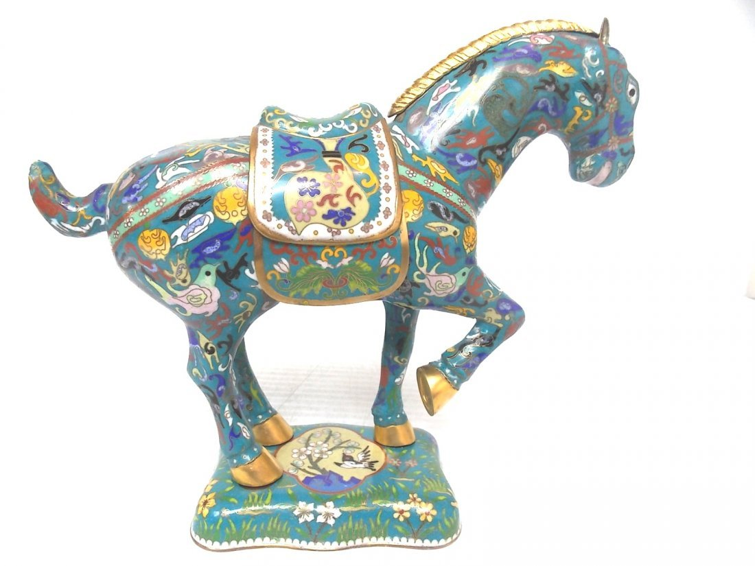 VINTAGE CHINESE ASIAN CLOISONNE HORSE W/ GOLD