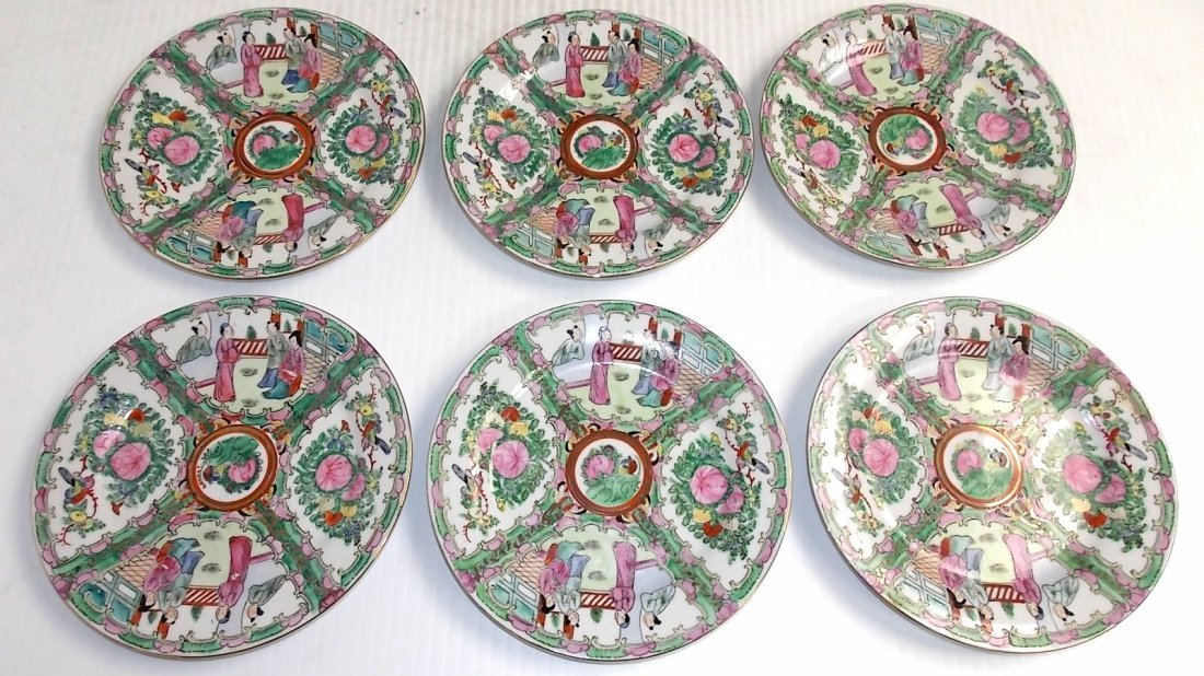 ANTIQUE CHINESE ASIAN PORCELAIN FAMILLE ROSE PLATES
