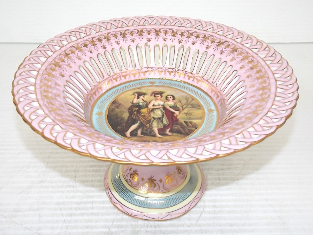 Pink Victorian Style Porcelain Pierced Compote
