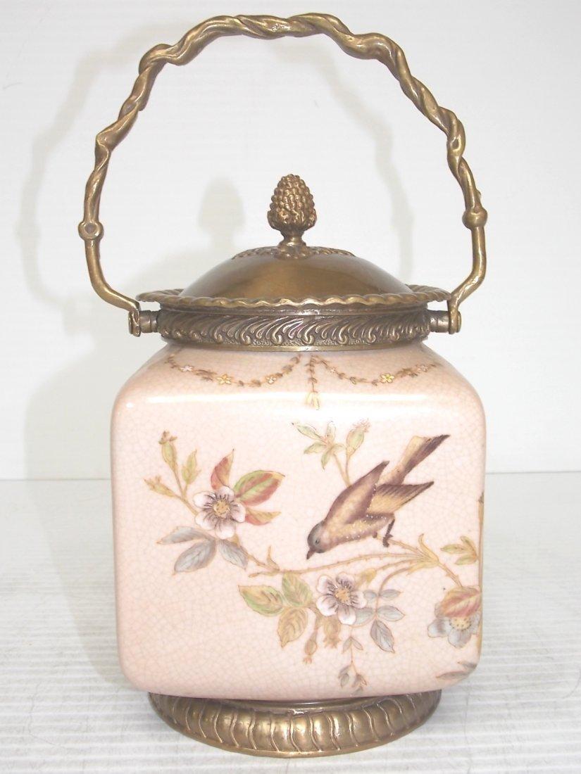 VICTORIAN STYLE FLORAL PORCELAIN BISCUIT JAR