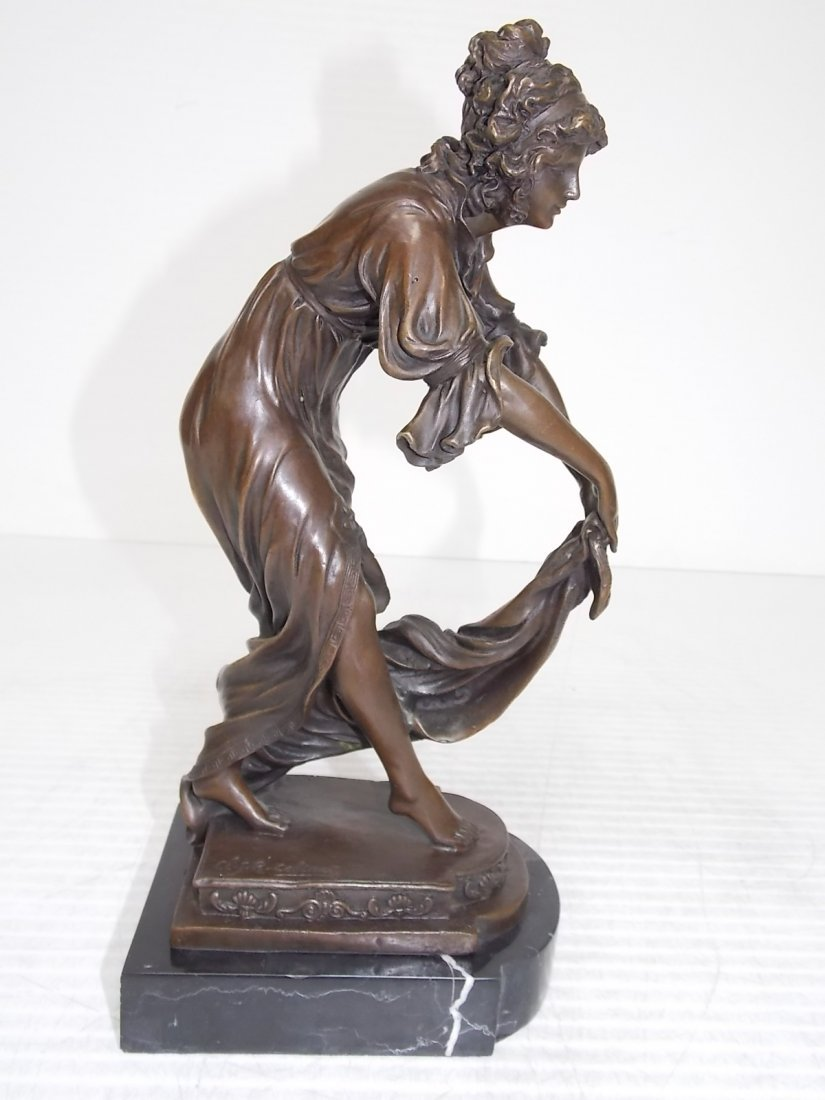 VICTORIAN LADY HOLDING DRESS BRONZE  SIGNED COLINES