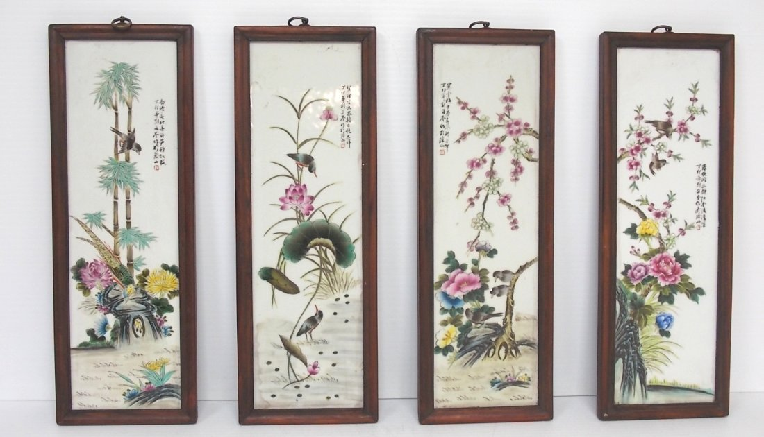 A SET OF 4  CHINESE PORCELAIN PANELS FROM EARLY 20TH C.