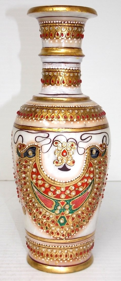 DECORATIVE HAND PAINTED NATURAL MARBLE VASE