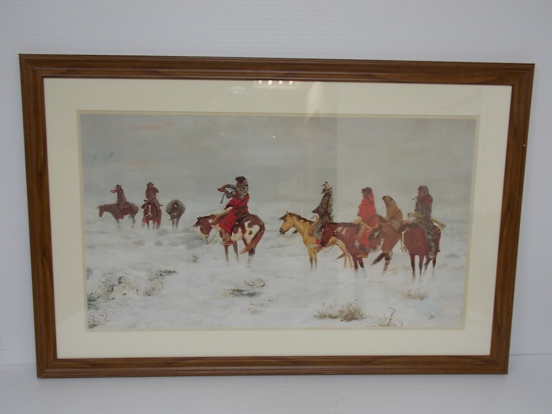 NATIVE AMERICAN INDIAN LITHO LOST IN A STORM BY RUSSEL