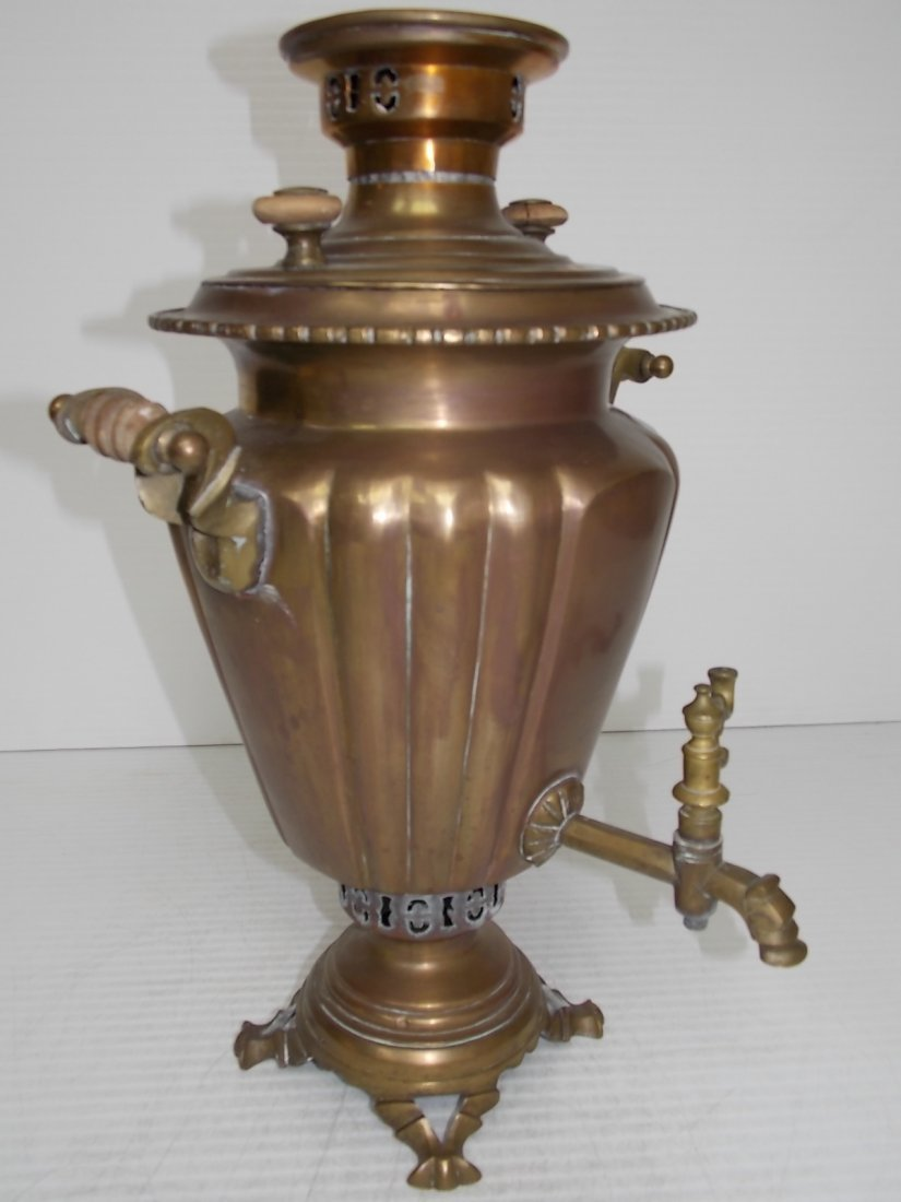 ANTIQUE BRASS RUSSIAN SAMOVAR COFFEE POT - 2