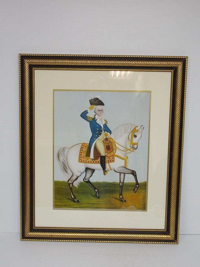 GEORGE WASHINGTON ON WHITE CHARGER HORSE FRAMED LITHO