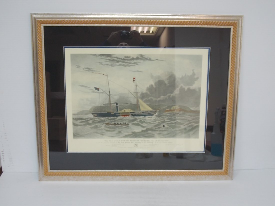 """HAND COLORED ENGRAVING OF H.M STEAM FRIGATE """"GEYSER"""""""