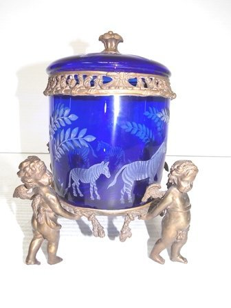 COBALT BLUE CUT GLASS TOBACCO JAR W/ BRONZE CHERUBS