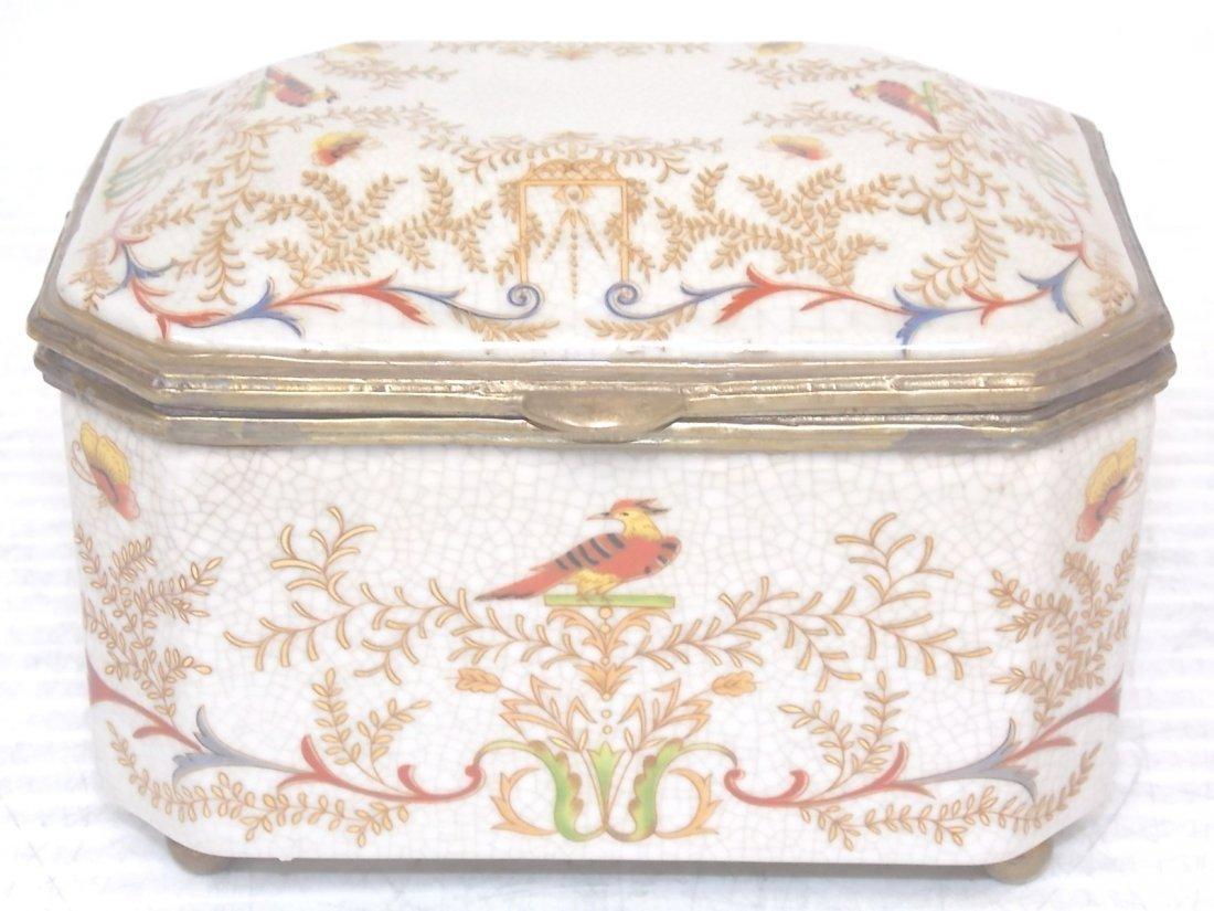 VICTORIAN ART NOUVEAU PORCELAIN FLORAL VANITY BOX