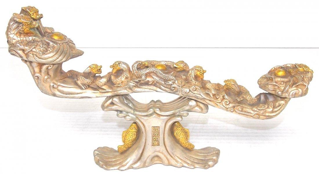 CHINESE CEREMONIAL WHITE BRONZE RUYI W/ DRAGONS