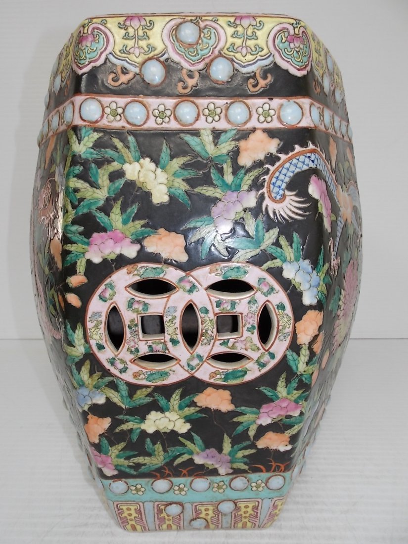 ANTIQUE HAND PAINTED CHINESE PORCELAIN GARDEN STOOL