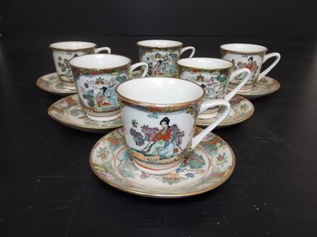 SET OF 6 CHINESE PORCELAIN DEMITASSE CUP & SAUCERS