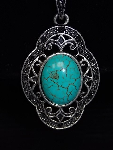 ASIAN TIBETAN SILVER TURQUOISE NECKLACE