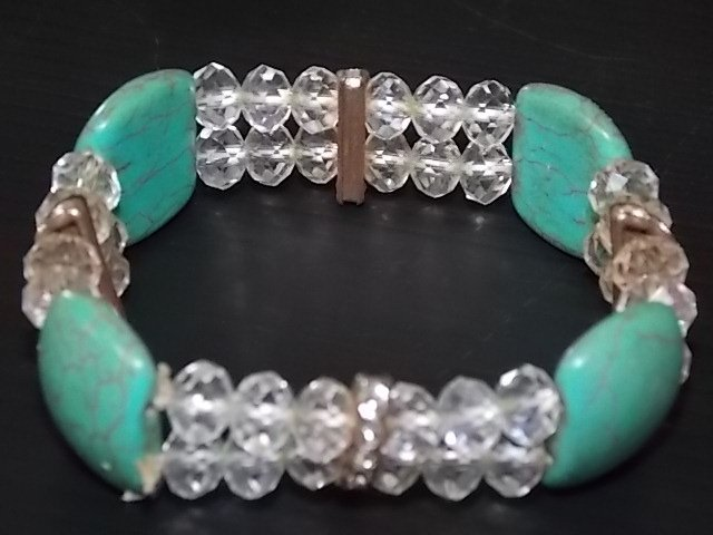ONE OF A KIND TURQUOISE W/ WHITE ICE BEADED BRACELET