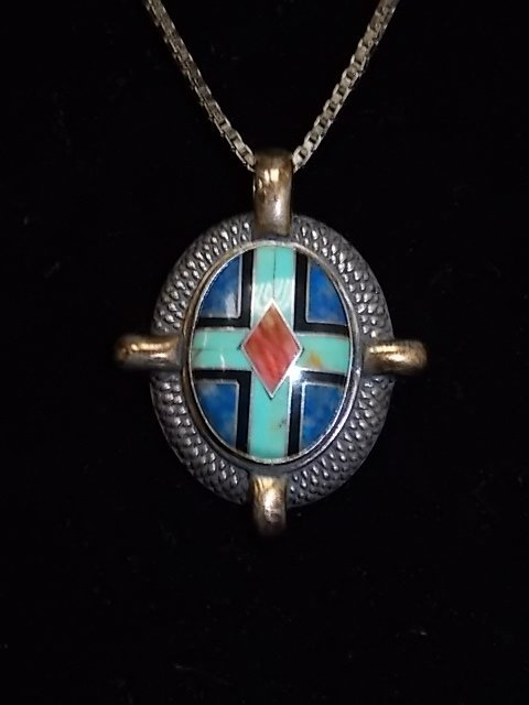 STERLING NATIVE AMERICAN TURQUOISE NECKLACE 13.67g