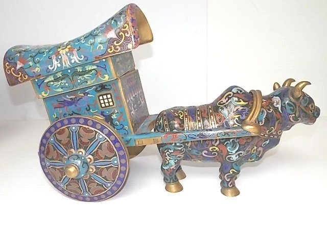 ANTIQUE CHINESE CLOISONNE BULL & WAGON CARRIAGE FIGURE