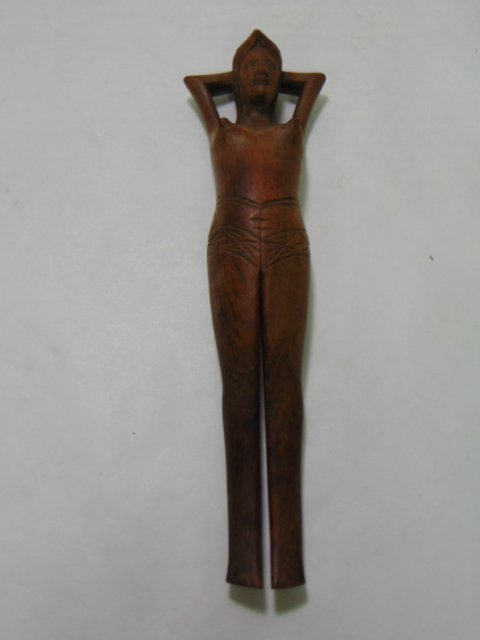 HAND CARVED WOODEN NAUGHTY NELLY NUT CRACKER