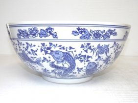 Large Chinese Blue & White Porcelain Centerpiece Bowl