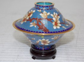 Chinese Asian Cloisonne Mini Rice Warmer W/ Gold
