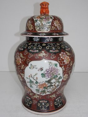 Hand Painted Chinese Temple Jar By Wah Tung