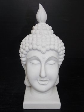 Feng Shui Bust Statue Of Buddha Head W/ Marble Finish