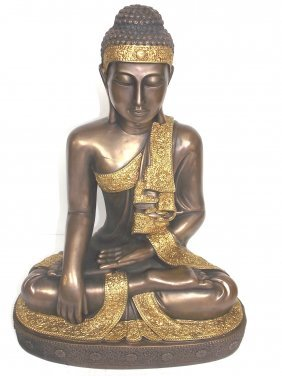 Statue Of Sitting Buddha W/ Bronze Finish Garden Art