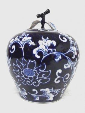 Decorative Chinese Porcelain Cobalt Floral Ginger Jar