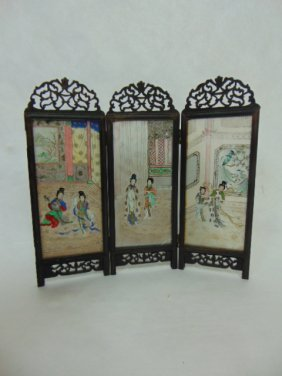 Antique Chinese Reverse Painted On Glass Table Screen