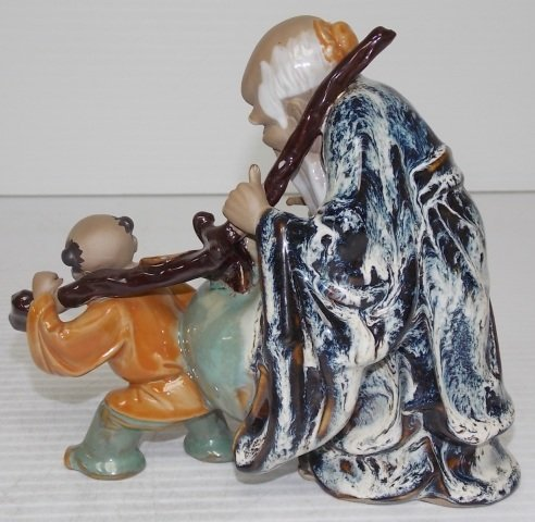 HAND PAINTED CHINESE CLAY STATUE - 4