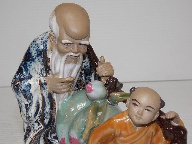 HAND PAINTED CHINESE CLAY STATUE - 5