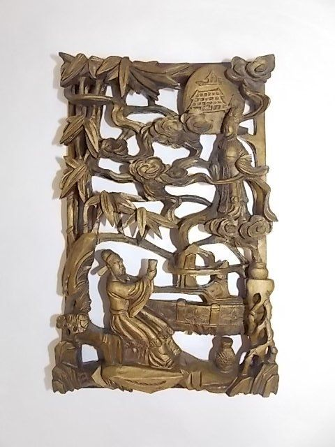 ANTIQUE CHINESE ASIAN CARVED RELIEF PANEL
