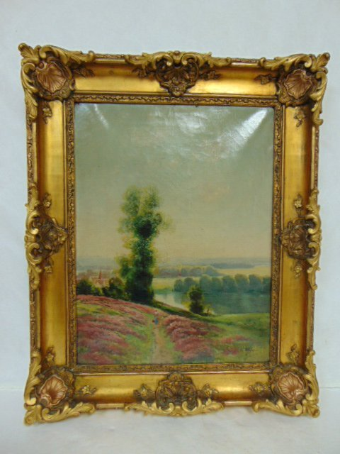 ANTIQUE ARTIST SIGNED LANDSCAPE OIL PAINTING ON CANVAS
