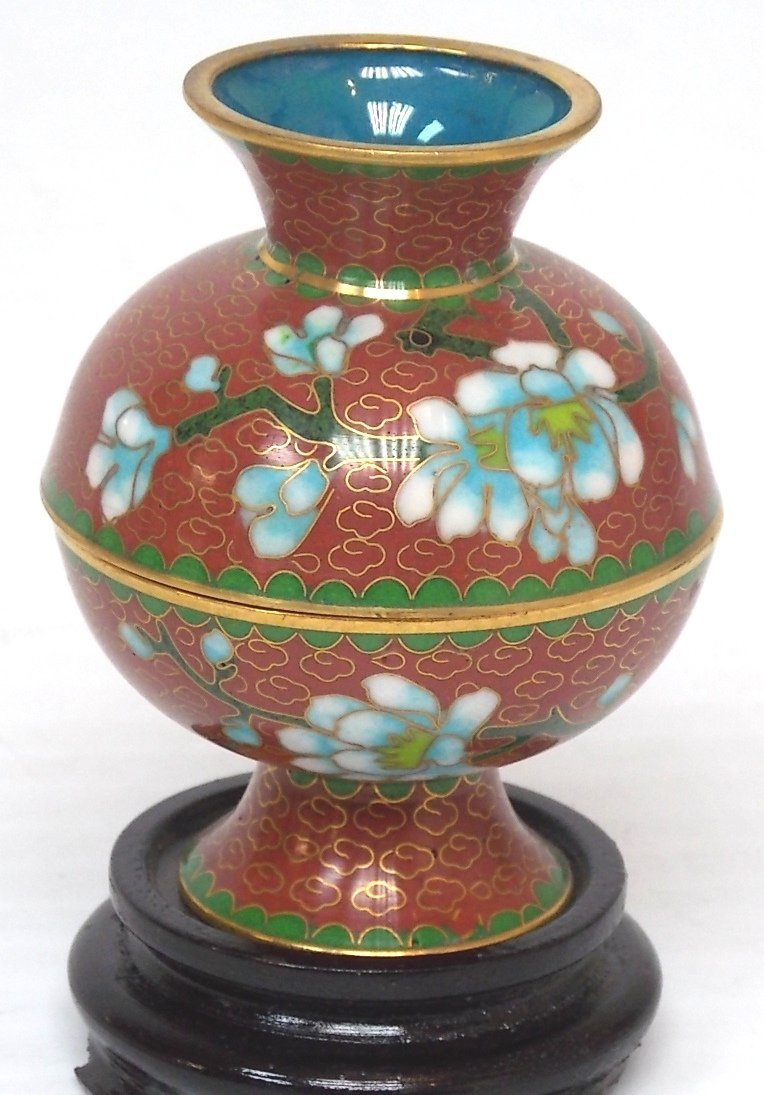VINTAGE CLOISONNE MINI RICE WARMER W/ STAND