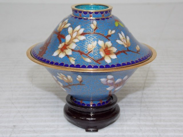 Chinese Asian Cloisonne Mini Rice Warmer W/ Gold - 2