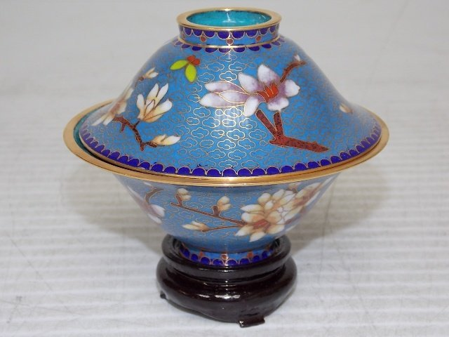 Chinese Asian Cloisonne Mini Rice Warmer W/ Gold - 3
