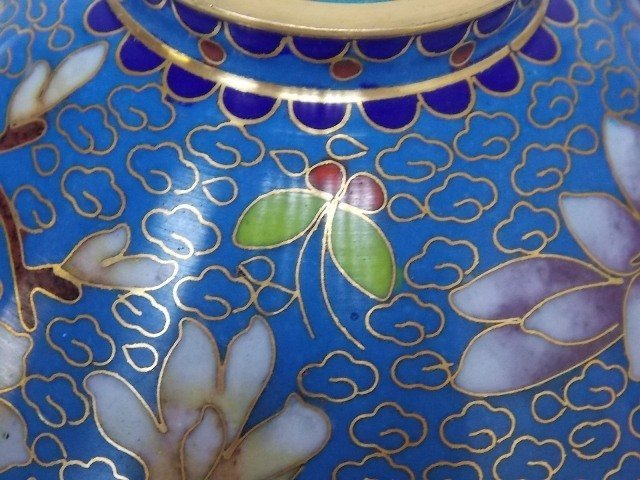 Chinese Asian Cloisonne Mini Rice Warmer W/ Gold - 6