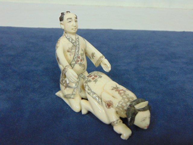 VINTAGE HAND CARVED BONE NETSUKE SHUNGA FIGURES - 4